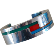Mid-Century Modern Aluminum & Plastic Cuff Bracelet w. Mondrian-Style Design