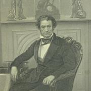 Whig Senator Rufus Choate of Massachusetts, framed antique engraving
