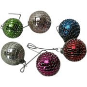 Set of 6 Vintage Feather Tree Christmas Ornaments w. Silver Mesh