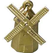 Vintage 14k Gold Windmill Charm, moveable sails