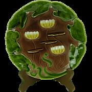 """Antique Art Nouveau Majolica Plate w. Water Lilies, 7 1/4'"""""""