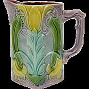 Antique Art Nouveau Sarreguemines  French Majolica Pitcher w. Tulips
