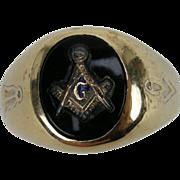Classic Masonic Signet Ring, 10k Gold & Onyx size 9.5