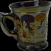 Northwood Singing Birds Amethyst Carnival Glass Mug