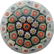 Mini Millefiori Glass Paperweight, 1 ½ inches,  Blue, white and orange