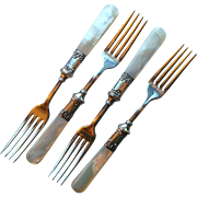 Antique Mother of Pearl and Sterling Handle Forks, set of 4, monogram Low