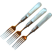 Antique Mother of Pearl Handle and Sterling Forks, set of 3