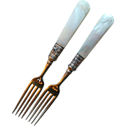 Antique Mother of Pearl and Sterling Handle Forks, set of 2