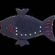Felt Fish handmade Vintage Scissors Case Pin Cushion
