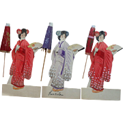 Geisha Place Cards with Umbrellas, Vintage Made in  Japan