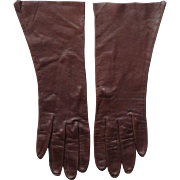 Vintage Brown Kid Leather Women's Gloves