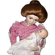 """1986 Franklin Mint Heirloom Doll - A Mother's Love - Victorian Lady and Infant 18"""""""