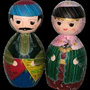 Pair of Hand Made Wooden Turkish Pin Dolls - Circa 1975
