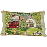 SALE Hand Made Needlepoint Pillow with Farm Scene