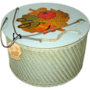 SOLD Aqua Princess Round Wicker Sewing Basket with Spool Tray - Sewing Theme Decal