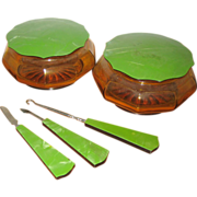 Deco Amber Glass Vanity Set with Pearlized Green Celluloid Lids and Handles