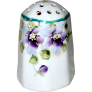 Hand Painted Porcelain Single Salt Shaker with Trailing Violets