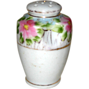 Unusual Urn-shaped Hand Painted Porcelain Single Salt Shaker with Pink Rose Garlands