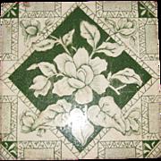 SOLD Victorian Monochrome Green Transferware Tile, Circa 1885