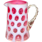 SALE Fenton Pink Cranberry Cased Glass Coin Dot Cream Pitcher