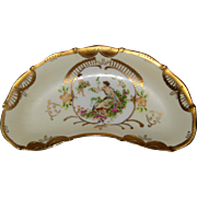 Charming Porcelain China Bone Dish with Gold Trim and Little Scene