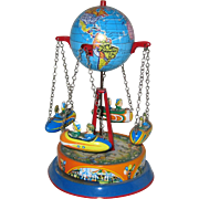 Tin Carousel Toy with Globe and Riders - Western Germany
