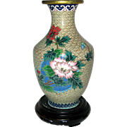 "6"" Chinese Cloisonne Vase with Peonies, Wooden Stand"