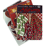 Three Coats & Clarks Afghan Pattern Booklets 1959, 1969 and 1985 for Knit, Crochet and ...