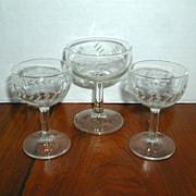 Three 1950's Cocktail Glasses
