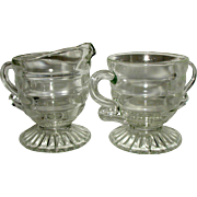 Indiana Glass Christmas Candy Footed Sugar andCreamer