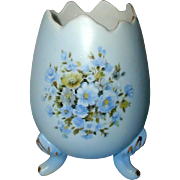 SALE Vintage Inarco, Japan Blue Porcelain Cracked Egg Vase Circa 1960