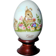 SALE Noritake 2008 Hand Painted Bone China Porcelain Easter Egg -Easter Bunny Painting Eggs