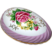 SALE Large Porcelain Easter Egg Box with Roses and Purple Luster Trim - 1950's Japan