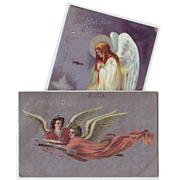 Two Vintage Easter Postcards with Angels - 1910 and 1918