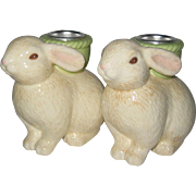 SALE Hallmark 1991 Easter Bunny Ceramic Candleholders in Original Box