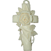 SALE Carved French Ivory or Celluloid Cross Pendant with Rose