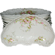 Theodore Haviland Limoges Bone Dishes with Pink and Yellow Roses - Schleiger 149D, Lot of Nine