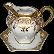 "1911 Hand Painted Nippon ""Royal Crockery"" Porcelain Gilt Moriage Syrup Pitcher and U"