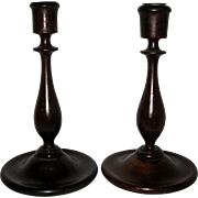 Pair of Hand Turned Wooden Candlesticks 1930's - 1940's