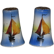 Hand Painted 1950's Japan Salt and Pepper Shakers with Sailboats and Blue Sea and Sky