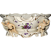Royal Sealy, Japan Porcelain Console Vase or Planter with Cherubs and Violets