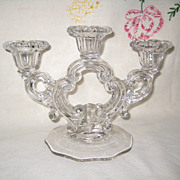 SOLD Cambridge Glass Keyhole Three Taper Candle Holder