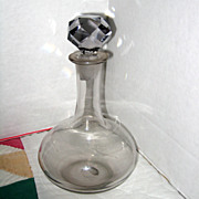Small Blown Glass Ship's Decanter with Faceted Stopper