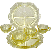 SALE Six Pieces of Yellow Hocking Princess Depression Glass