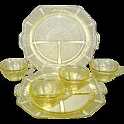 SALE Six Pieces of Yellow Hocking Princess Depression Glass