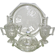 Six Piece Jeanette Glass Baltimore Pear Set - Covered Sugar, Creamer, Cheese or Butter Dome wi