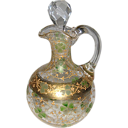 Victorian Glass Cruet with Handpainted Gold and Green Shamrock Design