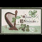 Vintage St.Patrick's Day Postcard - Welcome St. Patrick's Day