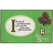 Unused Vintage St.Patrick's Day Postcard - Let's Paint the Town Green!