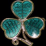 Mizpah England Enamel Shamrock Pin